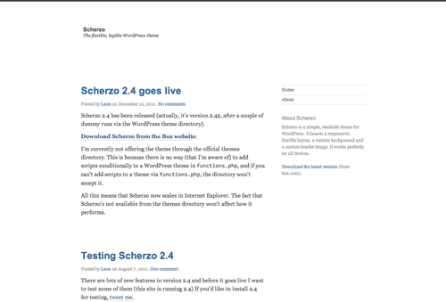 Scherzo on the desktop has a white background and dark grey text with blue headings, and a sidebar to the right.