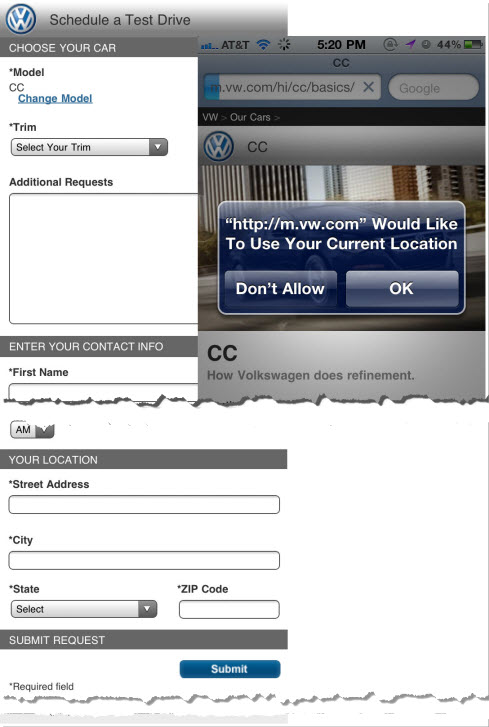 VolksWagon mobile site captures location, yet does not use it