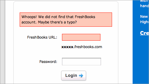 Freshbooks Form Validation