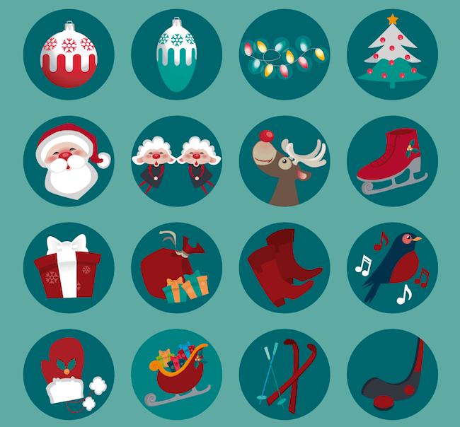 Round Christmas Icons