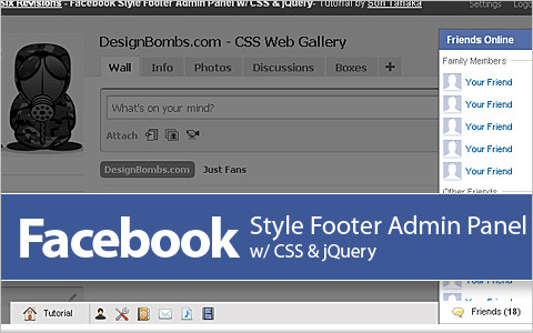 Facebook Style Footer Admin Panel
