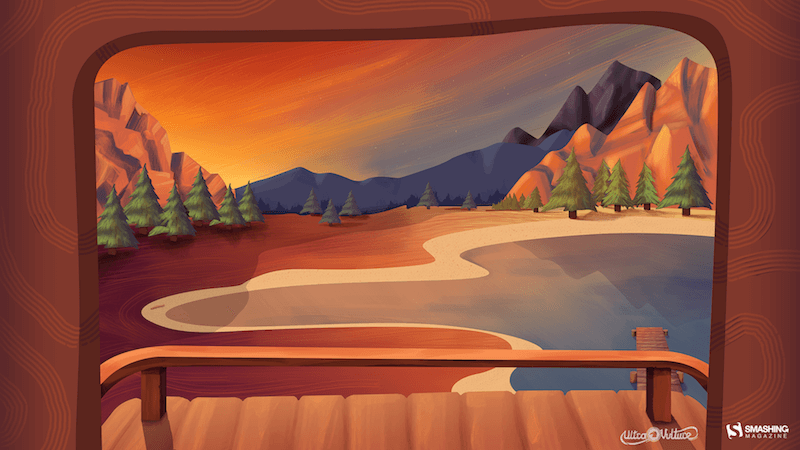 Illustration of a beautiful lake landscape as seen through the open flap of a roof top tent.