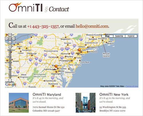 Omni TI's contact page