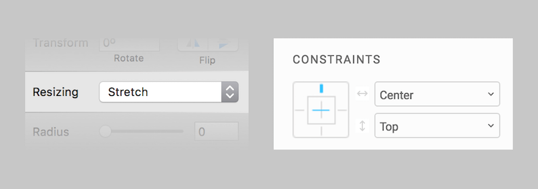 Left: Sketch's group-resizing feature is set in a single dropdown menu and takes some time to get used to. Right: Figma's constraints are much more visual.