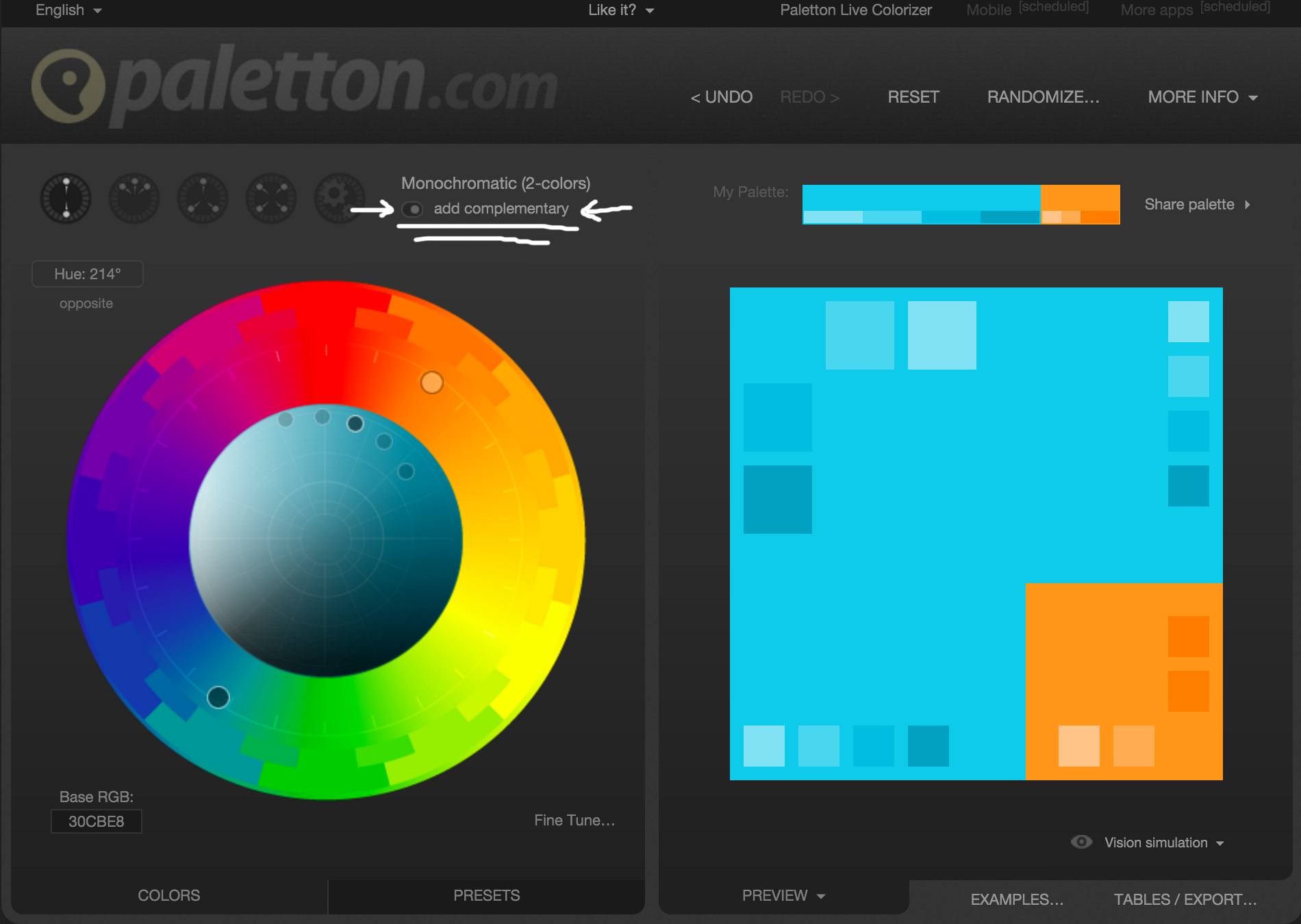 Screenshot Of Complementary Color In Paletton