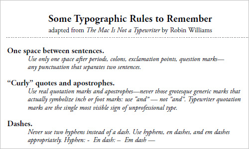 Some Typographic Rules to Remember