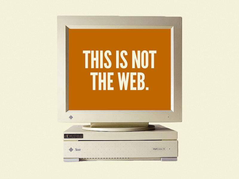 Once upon a time, the web was primarily consumed on desktop screens, hence this crusty-looking, old machine.