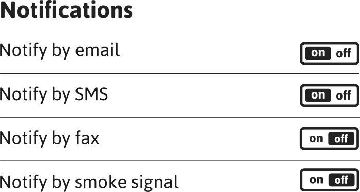 A list of notifications settings with associated buttons reading with either on or off highlighted, depending on the state
