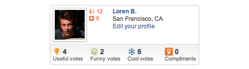 Yelp Profile Screenshot