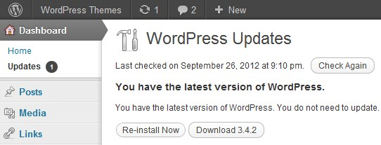WordPress's one-click updates mean there is no excuse to be running an out-of-date version!