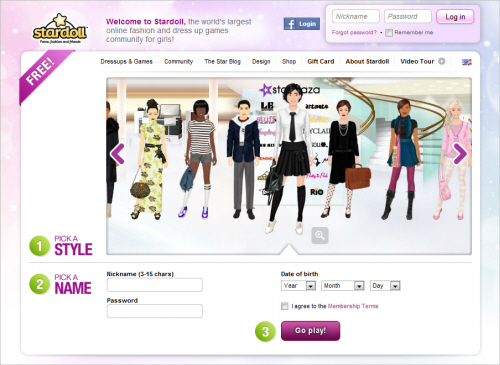 Stardoll-homepage in Best Practices For Designing Websites For Kids