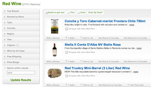pricegrabber.com wine categories