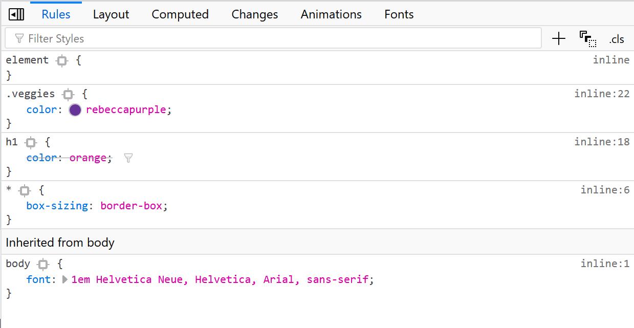 개발자 도구는 어떤 CSS 규칙이 요소에 왜 적용되지 않는지 파악할 수 있게 도와준다.