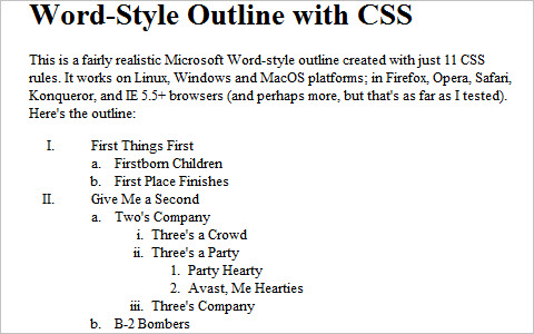 Create a Microsoft Word-Style Outline with CSS