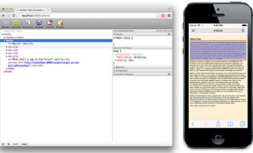 Weinre is debugging iOS with the DOM Inspector