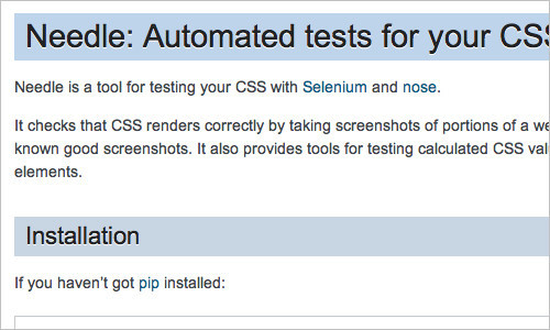 Needle: Automated tests for your CSS — Needle v0.1a1 documentation