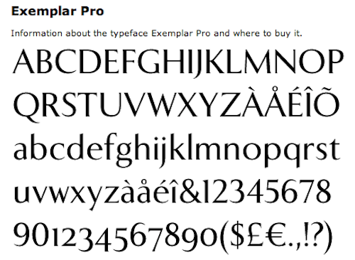 Exemplar Pro Typeface