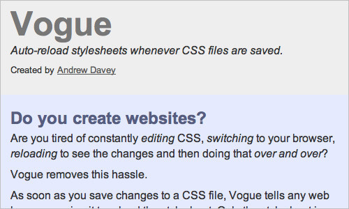 Vogue - Auto-reload stylesheets whenever CSS files are saved