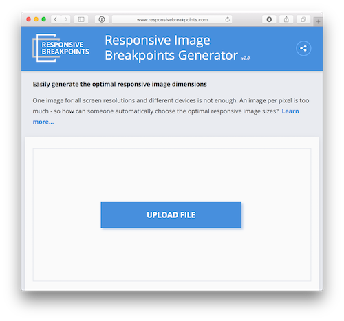 A screenshot of the Responsive Image Breakpoints Generator