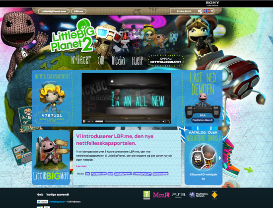Little Big Planet prompts the user to choose a language and region before browsing through the site