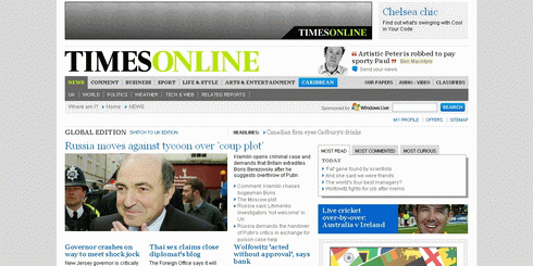 Screenshot of the Times Online homepage