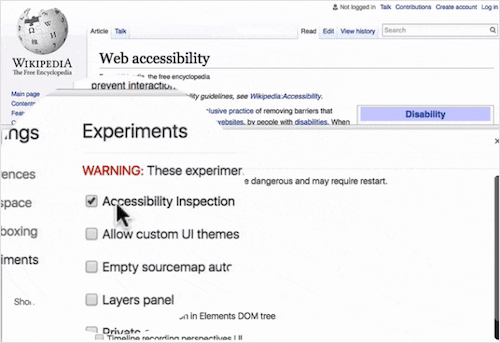 Chrome DevTools come with a built-in accessibility inspection.