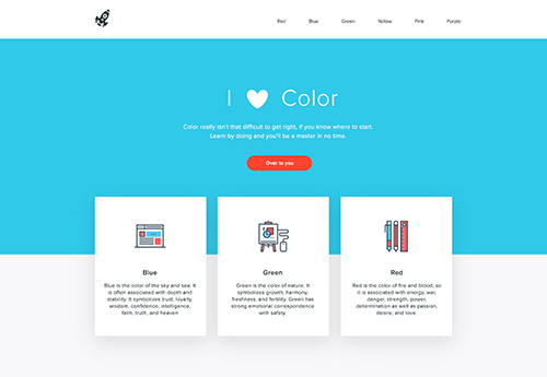 Color palette applied to a website layout