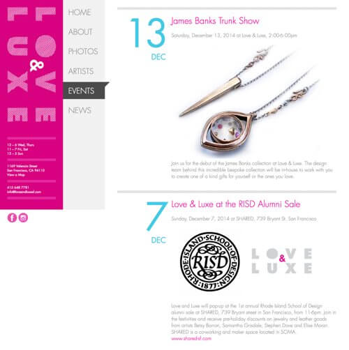 Screenshot from an interior page of the Love & Luxe website