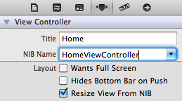 Connecting HomeViewController XIB