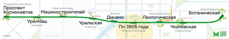 Ekaterinburg metro map — 2017