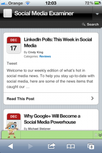 The Social Media Examiner mobile site - minimal styling