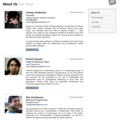 Meet the team pages examples and trends smashing magazine for Employee biography template