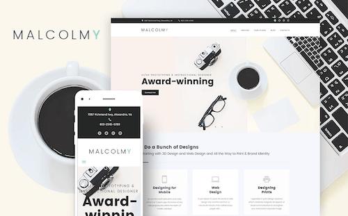 Malcolmy Lite: Free Designer Personal Portfolio WordPress Theme