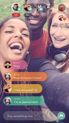 Screenshot of Chubble app showing livestream of friend emotions