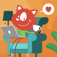An illustration of Topple the Smashing Mascot cat networking while sitting in a comfortable couch with its laptop placed on its lap holding a cup of coffee or tea, who knows