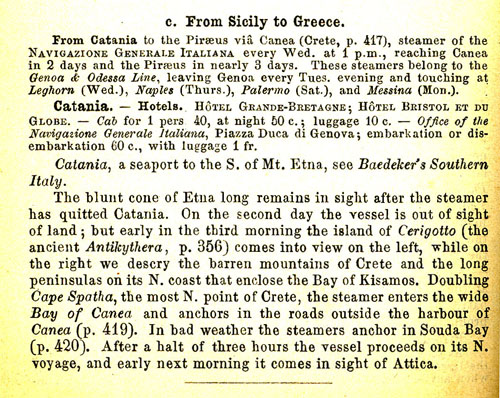 "Baedeker's ""Greece,"" Leipzig, 1909. Clarendon used for emphasis."