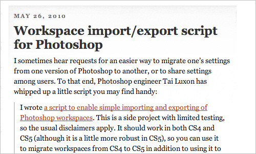 John Nack on Adobe: Workspace import/export script for Photoshop
