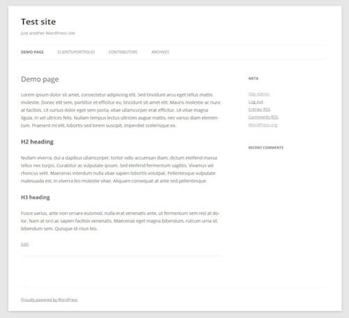 The default page template in the Twenty Twelve theme.