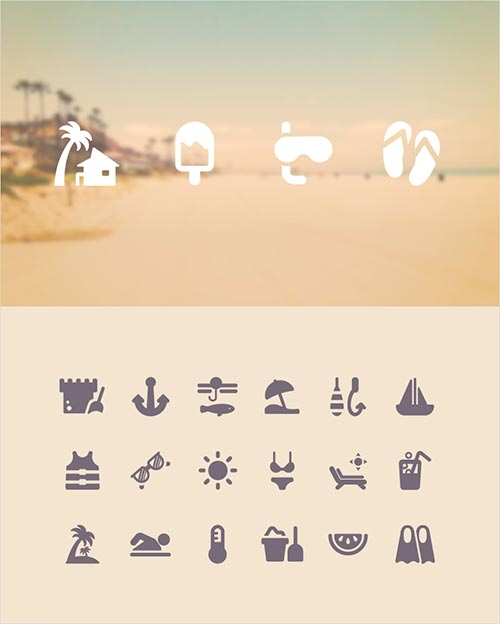 Travel Icons related to aquatic and forestry activities.