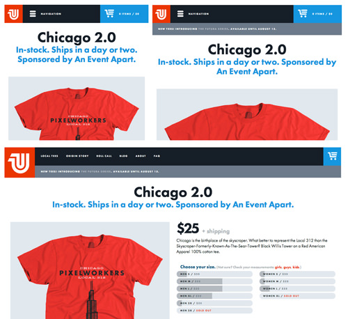 United Pixelworkers' website has continuity between landmarks across breakpoints. The logo is red in the top left, the navigation is in a black bar along the top, and you can always access the cart from the bright blue button in the top right—no matter which size screen you visit from!