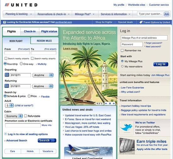 United Airlines website