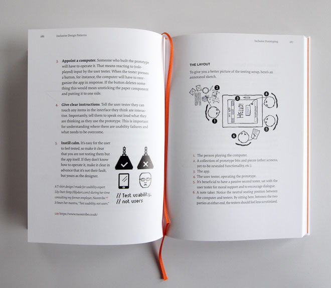 A photo from inside the Inclusive Design Patterns book