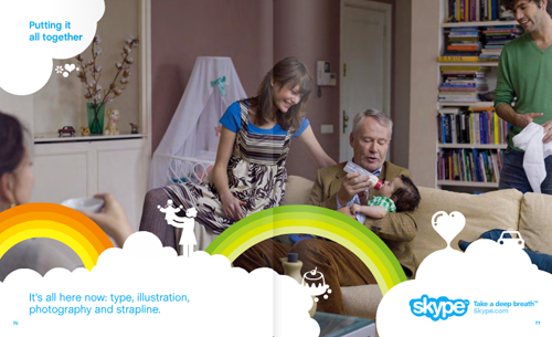 Skype showing text, illustration, photography together