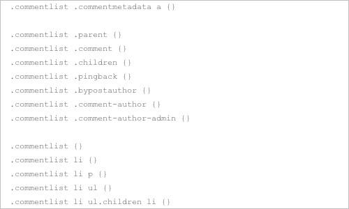 Default WordPress Generated CSS Cheat Sheet for Beginners