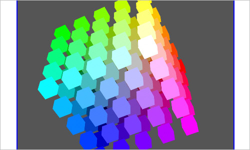 Rotating color cube box with CSS3 animation, transforms and gradients