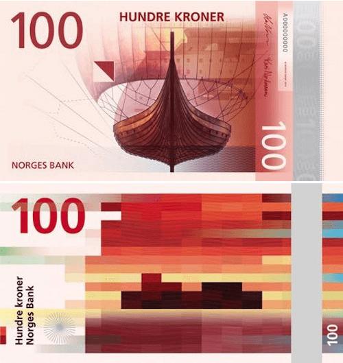 Norwegian 100 kroner bill front and back