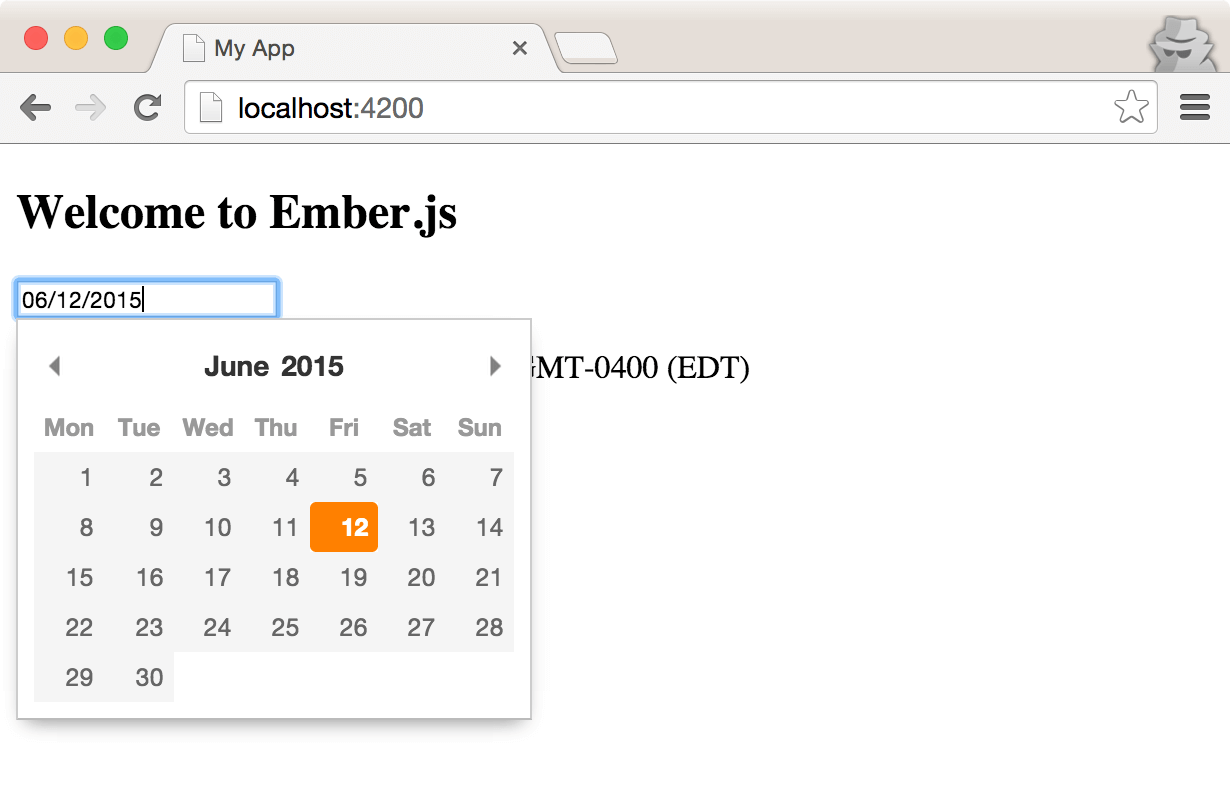 Write your next web app with ember cli smashing magazine a pikaday date picker rendered as an ember component malvernweather Images