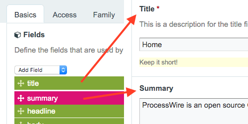 "Left screenshot half: drag and drop fields in template settings. Right screenshot half: changed field order on ""Home"" page."