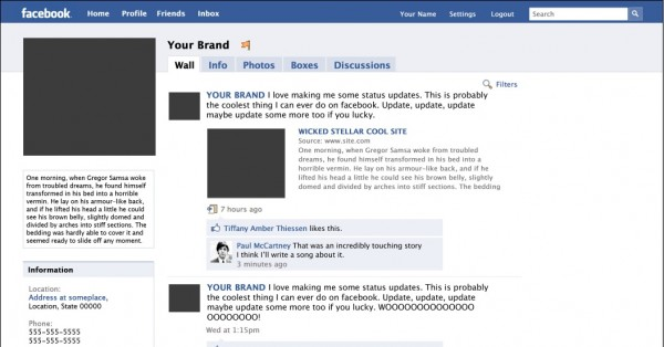 mock facebook page template - designing a facebook fan page showcases tutorials