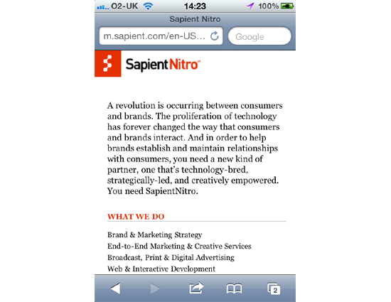 Sapient Nitro - Mobile Site